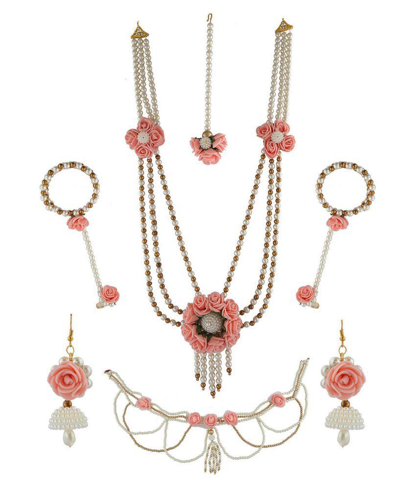 Anuradha Art Baby Pink Colour Three Layer Classy Designer Flower Jewellery Bridal/Bride full set For Women/Girls