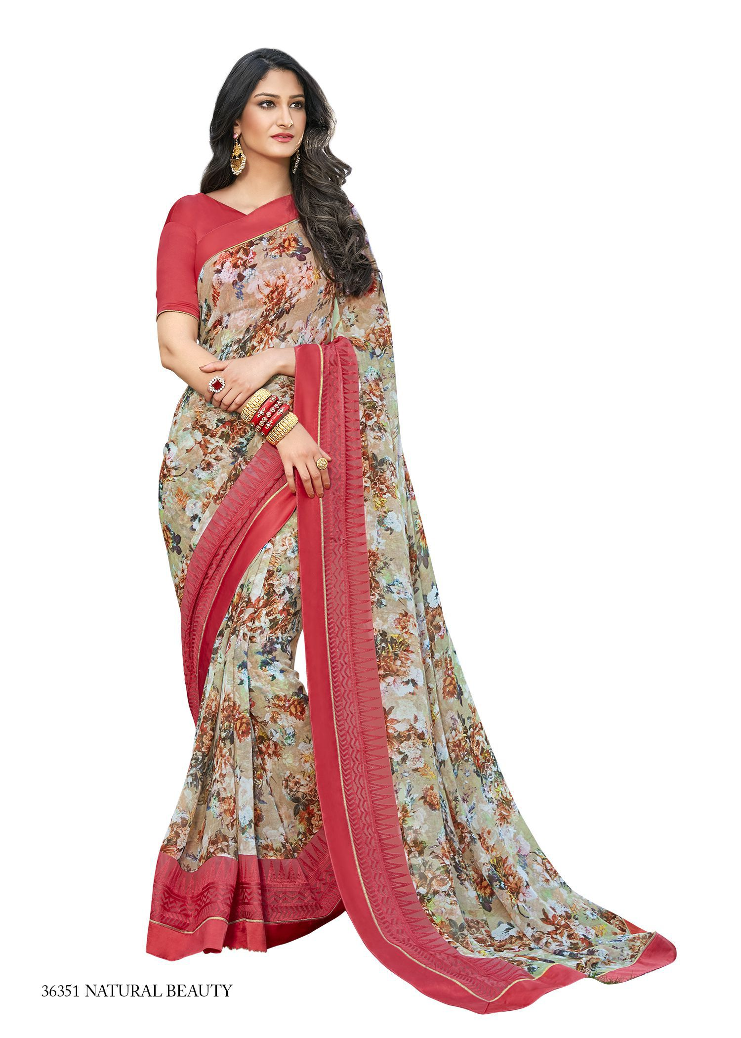 b42f47c2b32 Vipul Red and Beige Georgette Saree - Buy Vipul Red and Beige Georgette  Saree Online at Low Price - Snapdeal.com