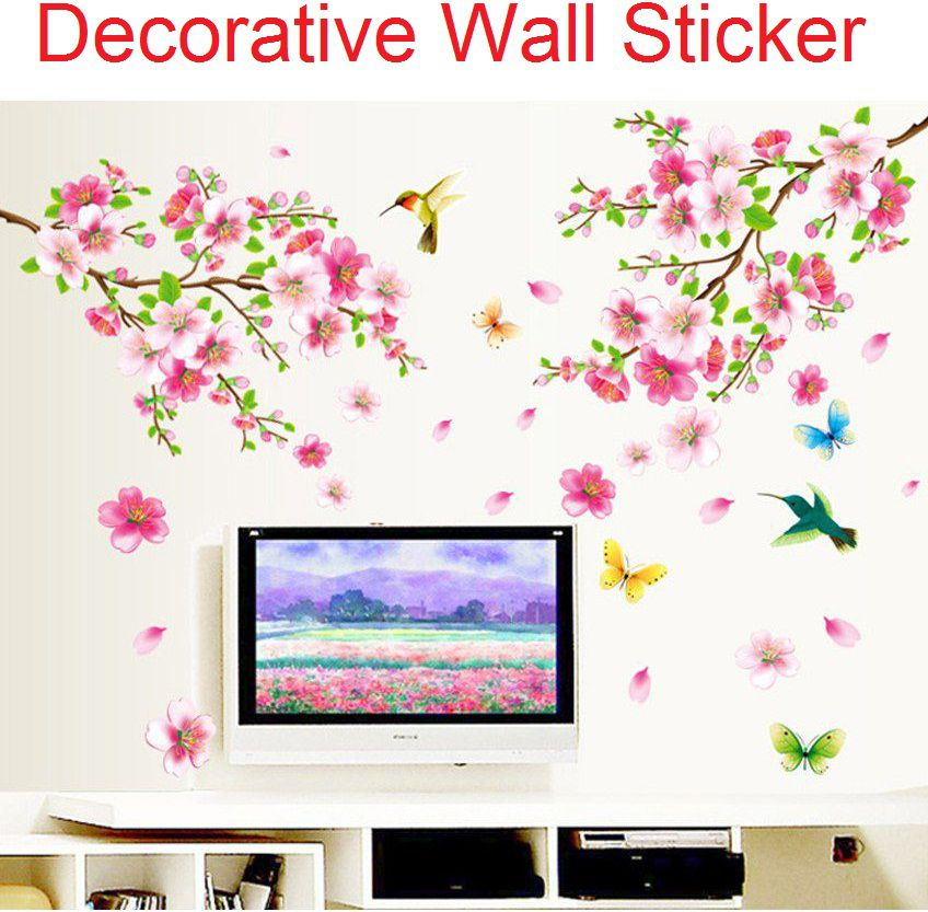 Stickerskart Pink and Green Vinyl Flowers TV Background Branch LED Living Area Decoration Pack Wall Sticker (155 x 115 cms)