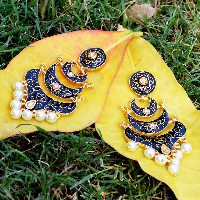 Classic meenakari Black Double layer gold plated chaand bali dangler jhumki earrings for women