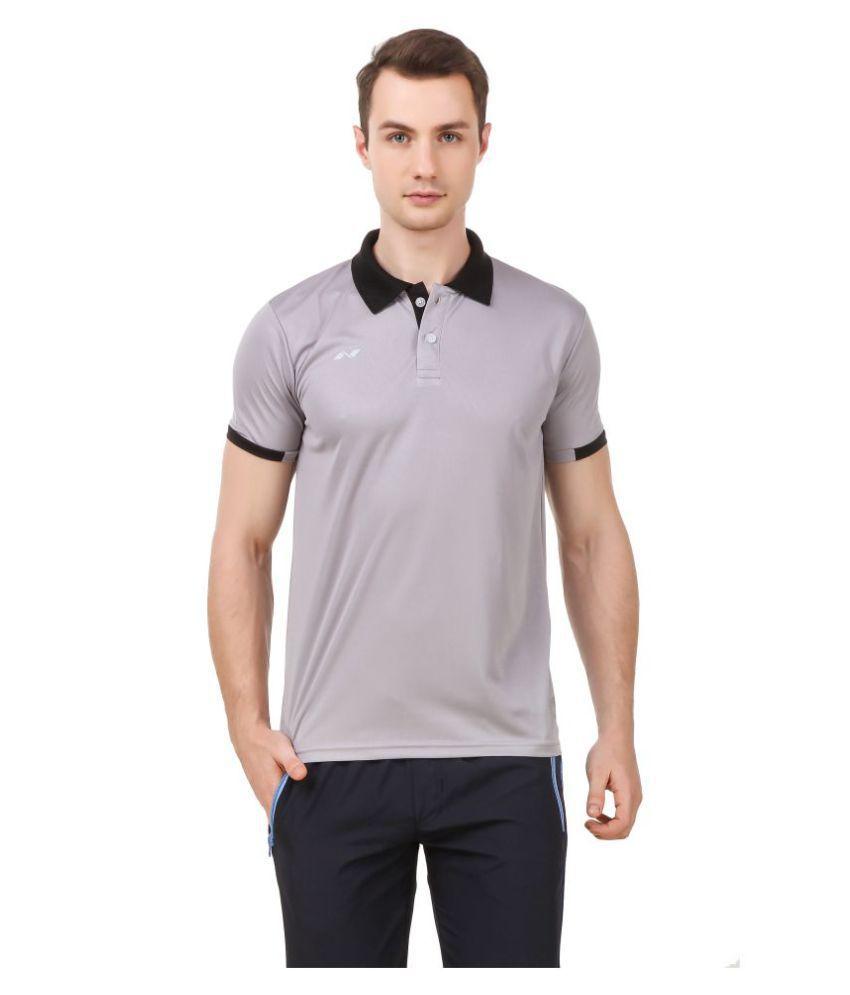 Nivia Grey Polyester Polo T-Shirt-M2351XL4
