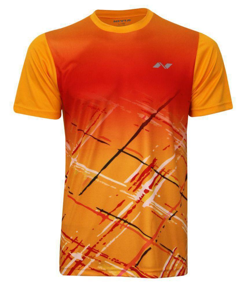 Nivia Gold Polyester T-Shirt-2353L2