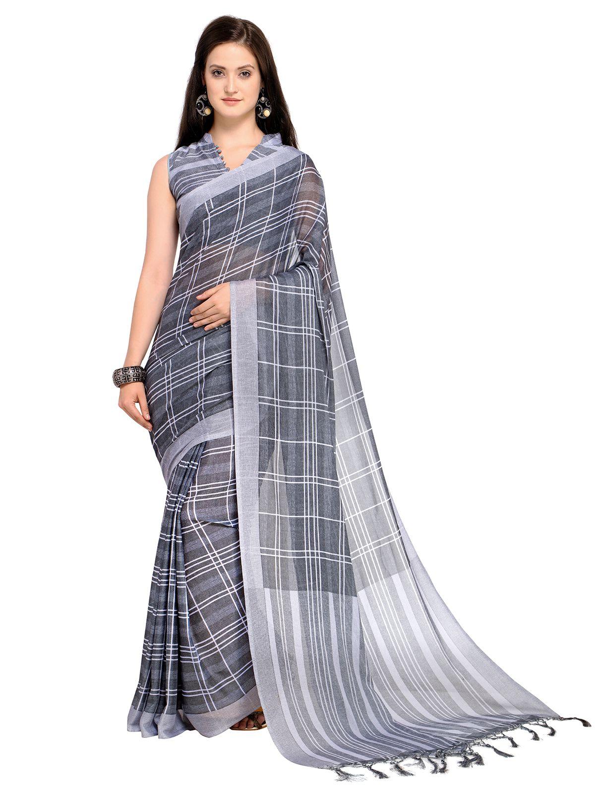Saree Mall Grey and Black Silk Blends Saree