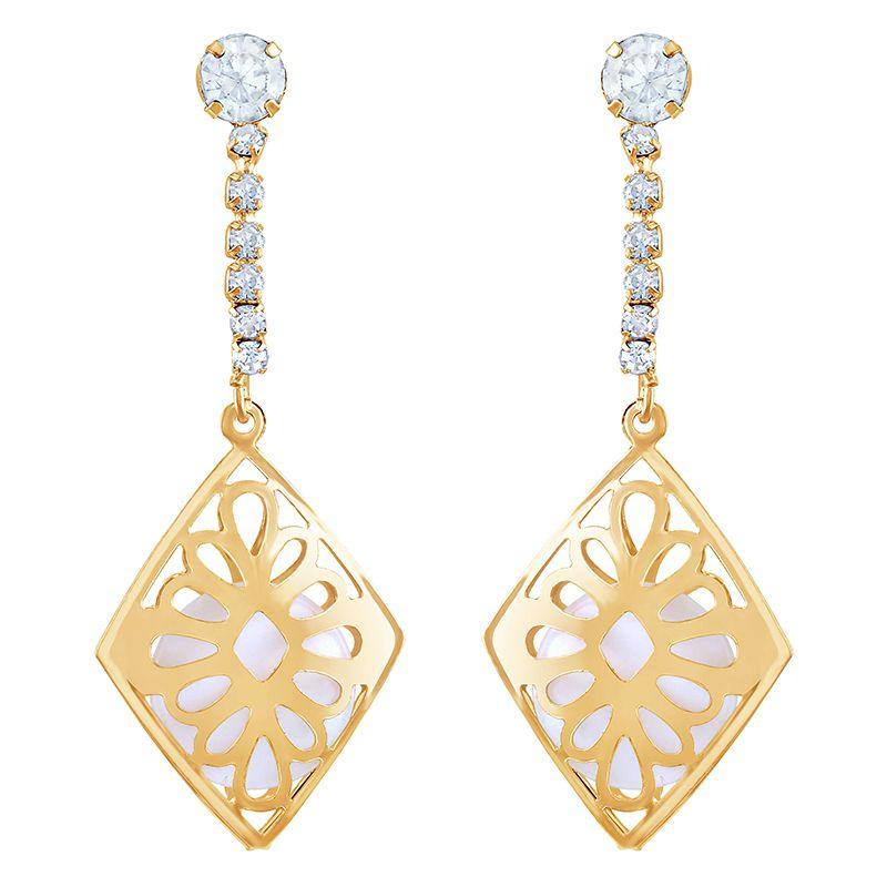 Asmitta Fancy White Stone Gold Plated Dangle Earring For Women