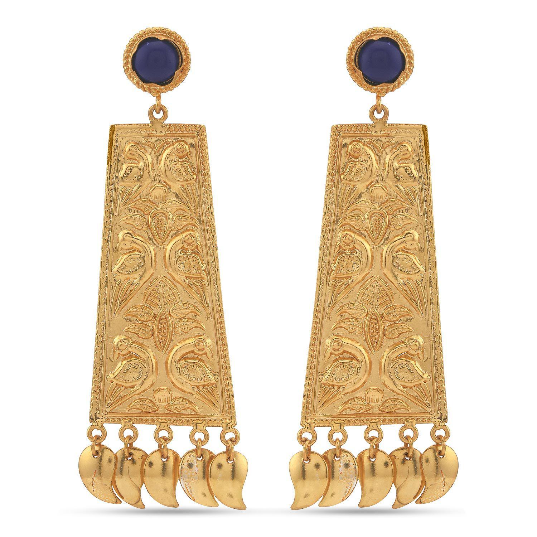 Tistabene Indo Western Floral Emboss Golden Dangler Earrings   Blue Colored Stones Dangler Earrings   Gold Plated Drop leaves Fancy Party Wear New Latest Trendy Designer Light Weighted Dangler Earrings For Girls And Women (ER-3846)