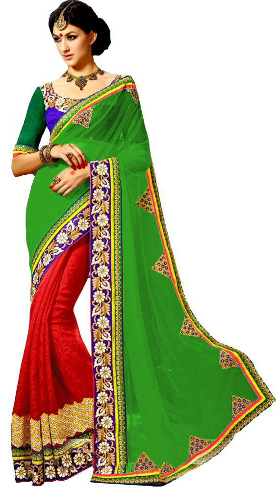 Wkart Green and Red Georgette Saree