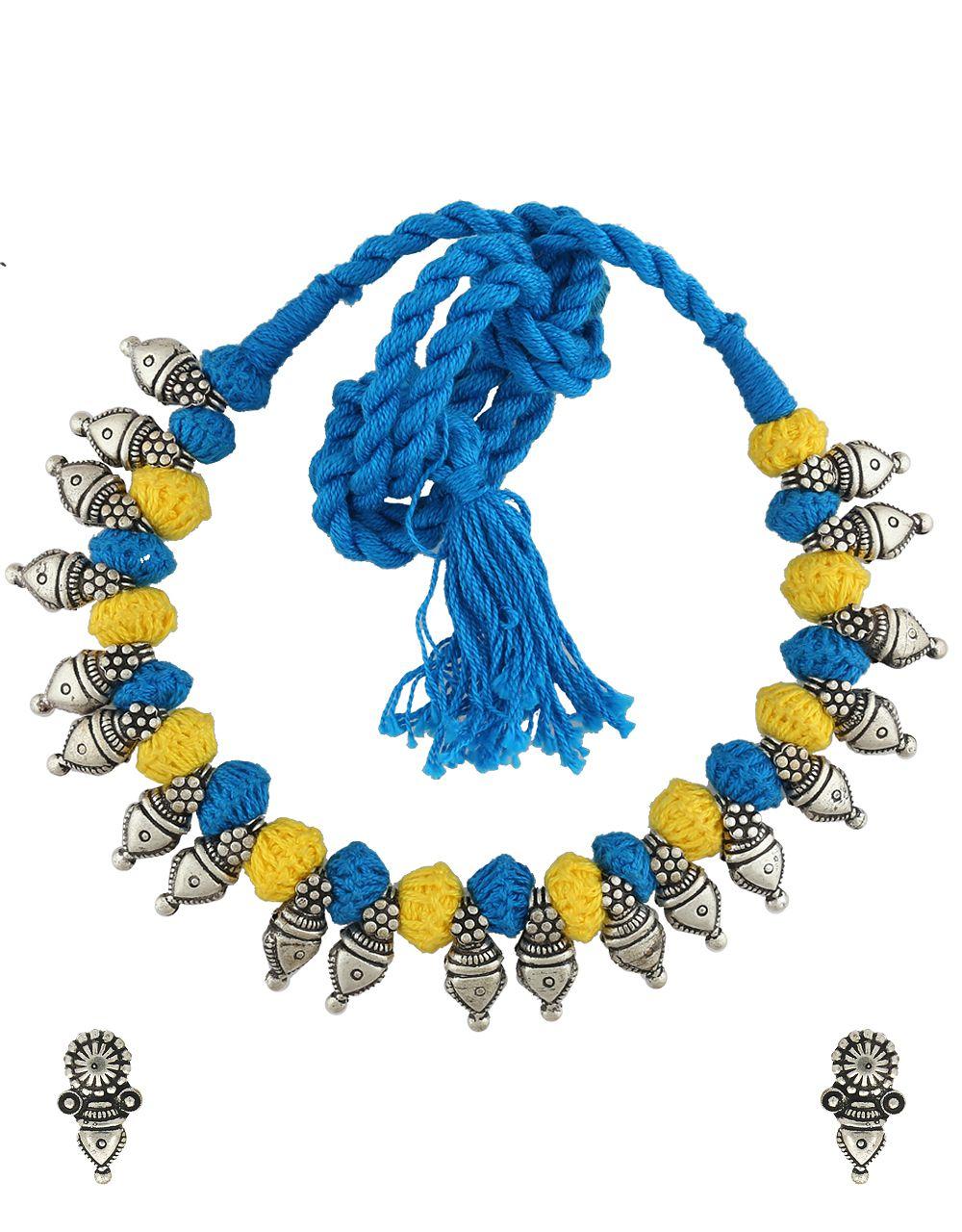 Anuradha Art Silver Tone Oxidized Designer Yellow-Blue Colour Thred Necklace Set For Women/Girls