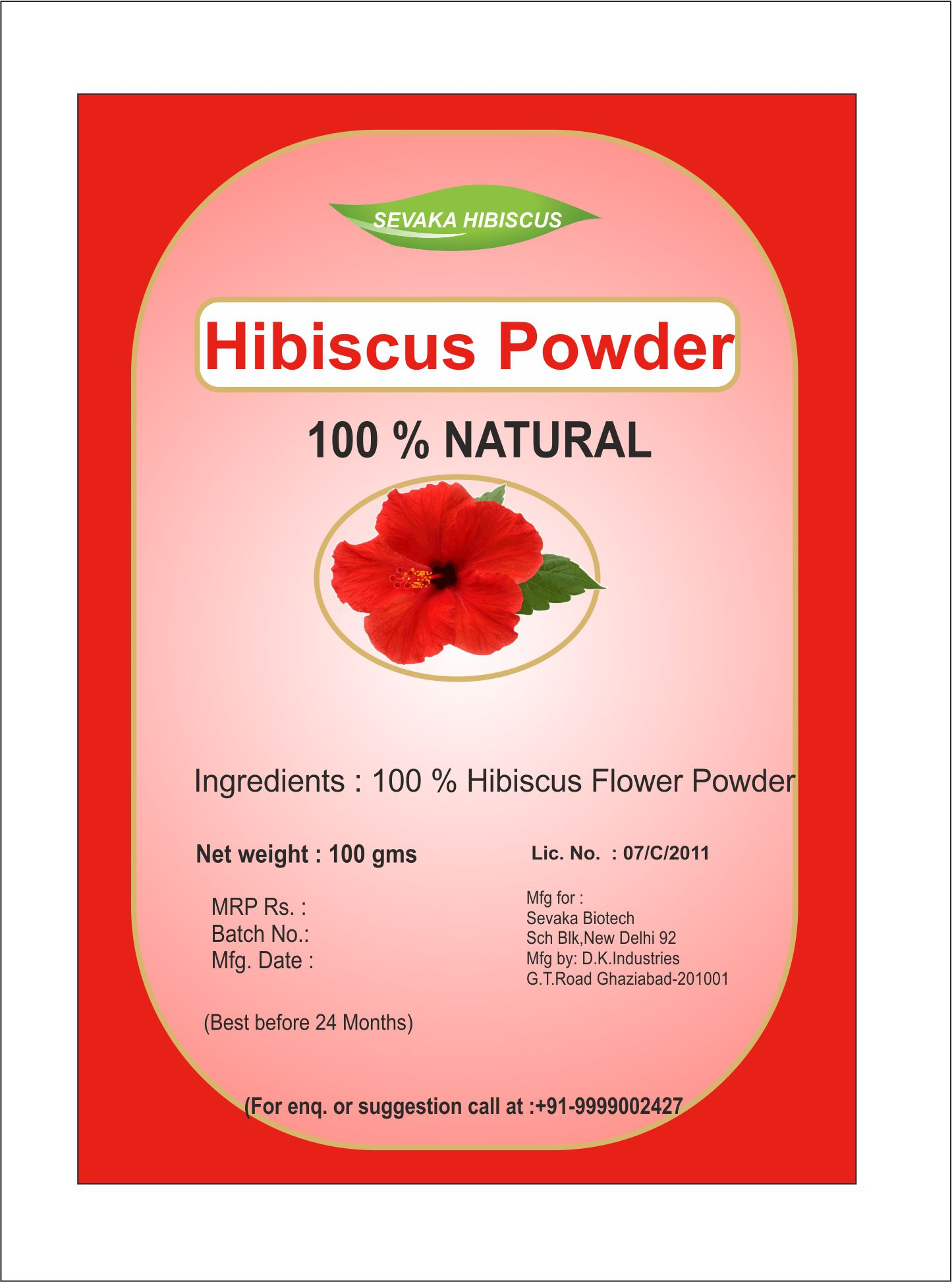 Sevaka Hibiscus Hibiscus Powder 100 Gm Semi Permanent Hair Color Red
