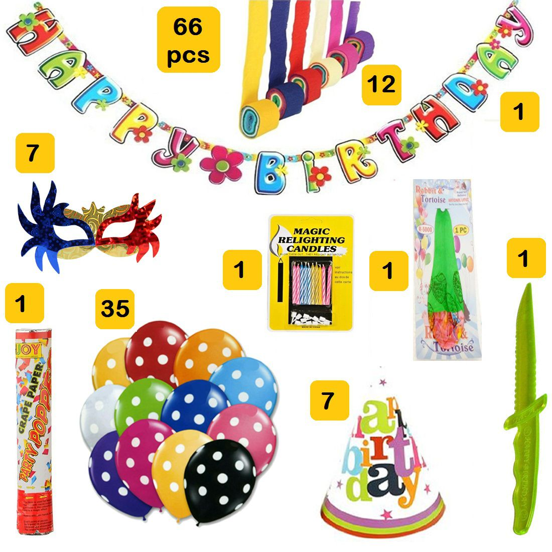 1 Happy Birthday Banner 12 Pcs Crepe Rolls 7 Party Eye Masks 10 Magic Candles Large Goodies Balloon Cake Cutting Knife
