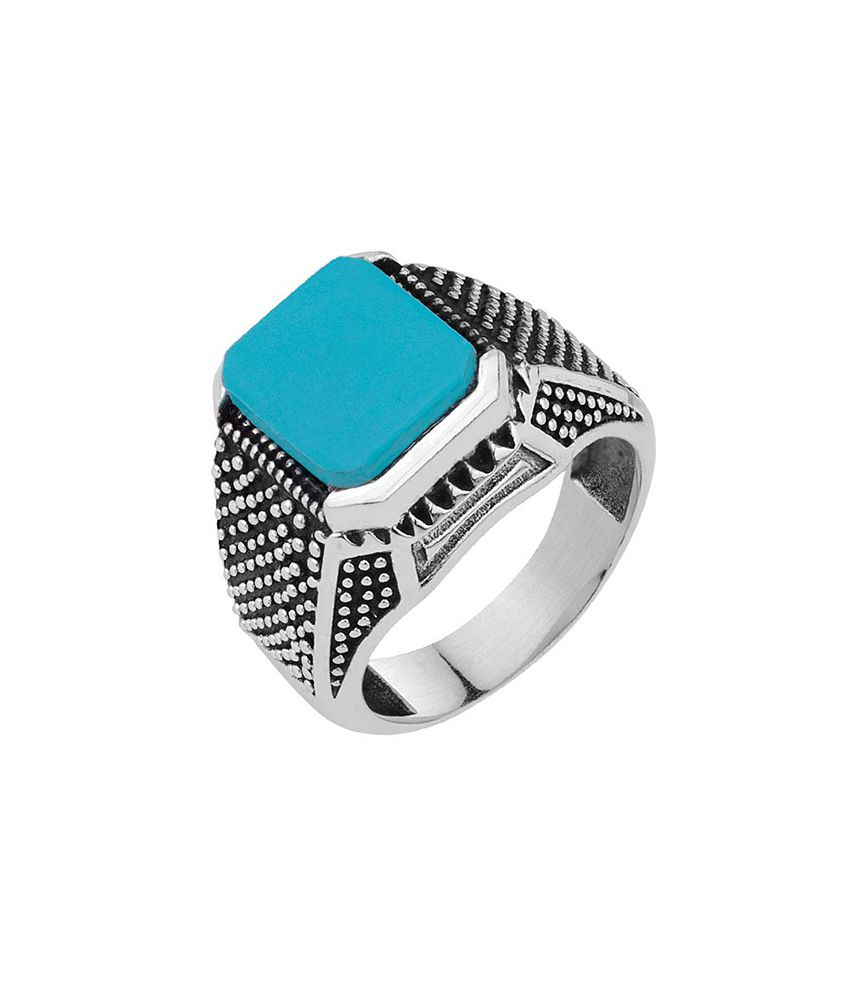 Dare Milestone Turquoise Stone Oxidized Statement Ring for men
