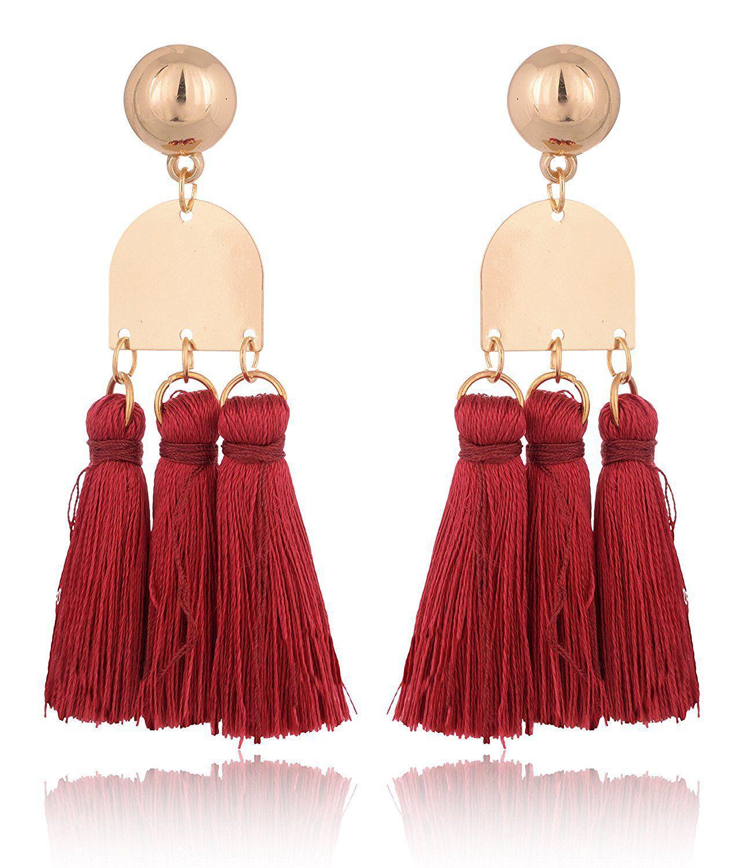 Fab Jewel Fashionable Maroon Tassel Earrings for Girls and Women
