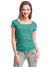 Fashion Line Cotton Lycra Green T-Shirts
