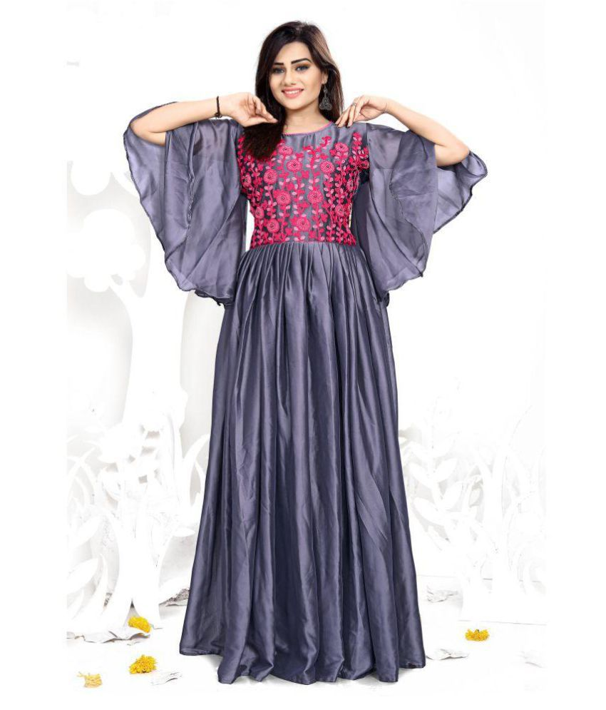 ARSH IMPEX Grey Color Towel Embroidery Work Silk Gown - Buy ARSH IMPEX Grey  Color Towel Embroidery Work Silk Gown Online at Low Price - Snapdeal 570659973