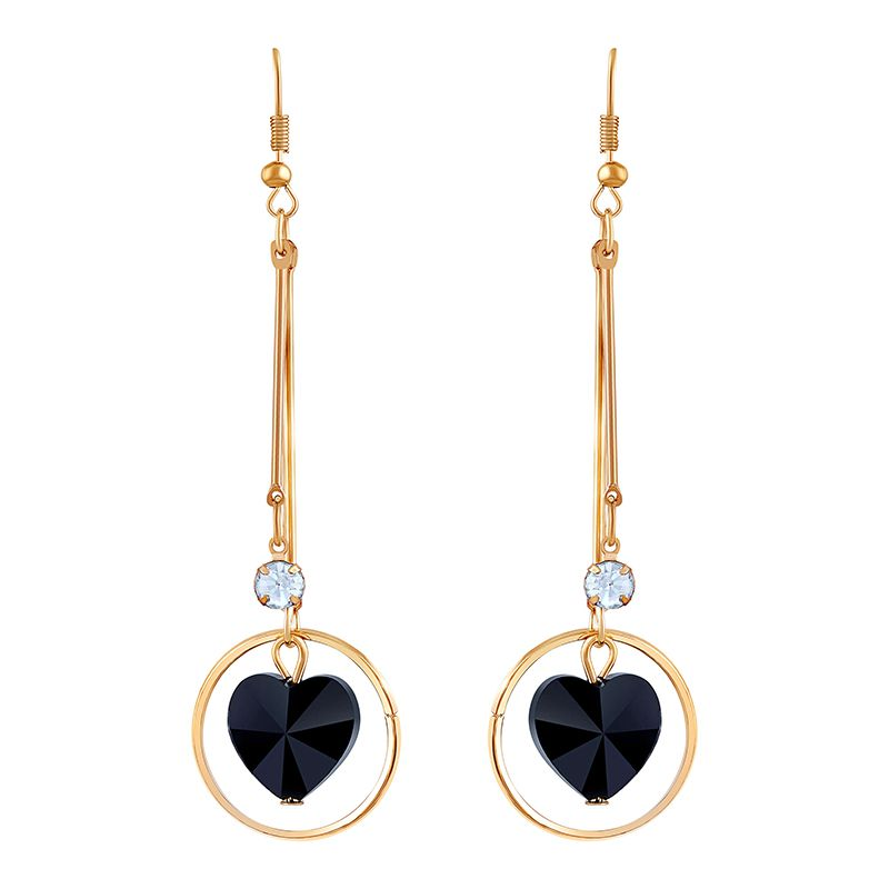 Asmitta Stylish White Stone Gold Plated Drop Earring For Women
