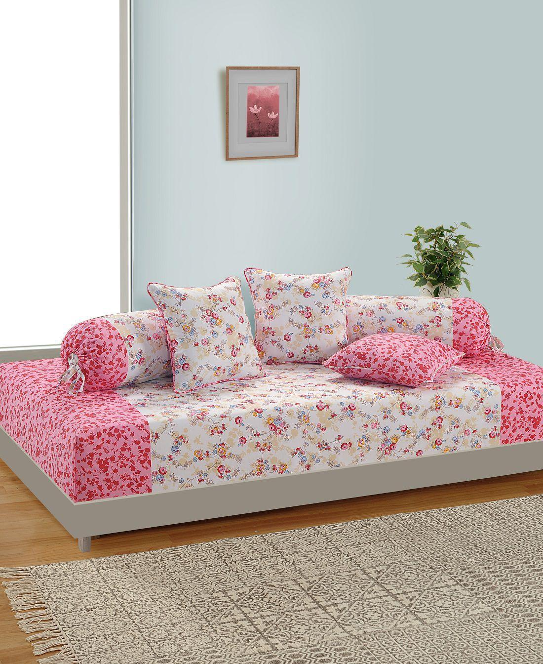 Swayam Cotton Multi Floral Diwan Set 6 Pcs