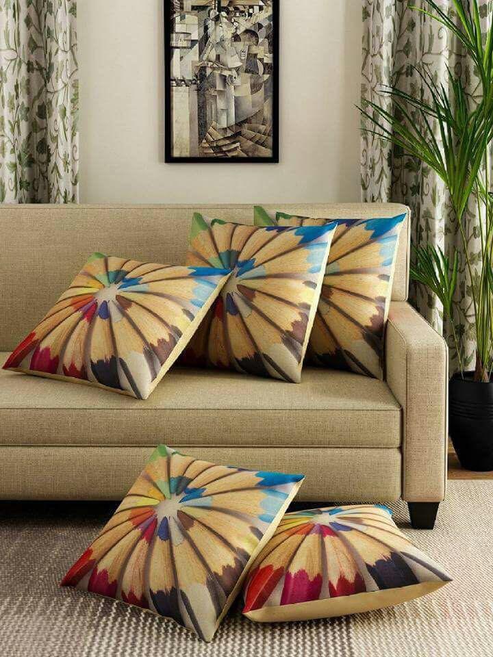 kaizen décor Set of 5 Jute Cushion Covers 40X40 cm (16X16)