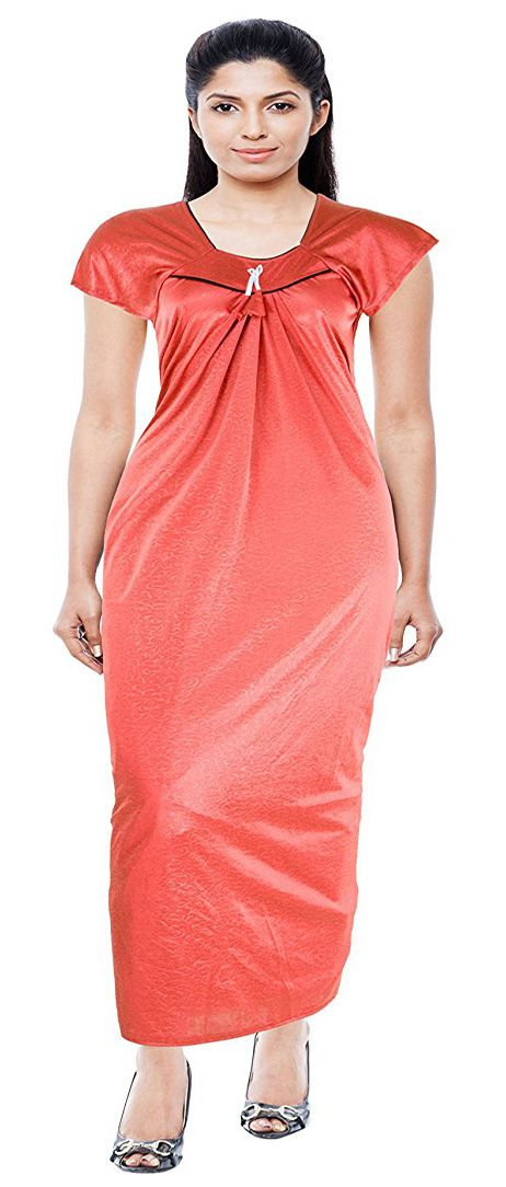 Alvia Satin Nighty & Night Gowns - Orange
