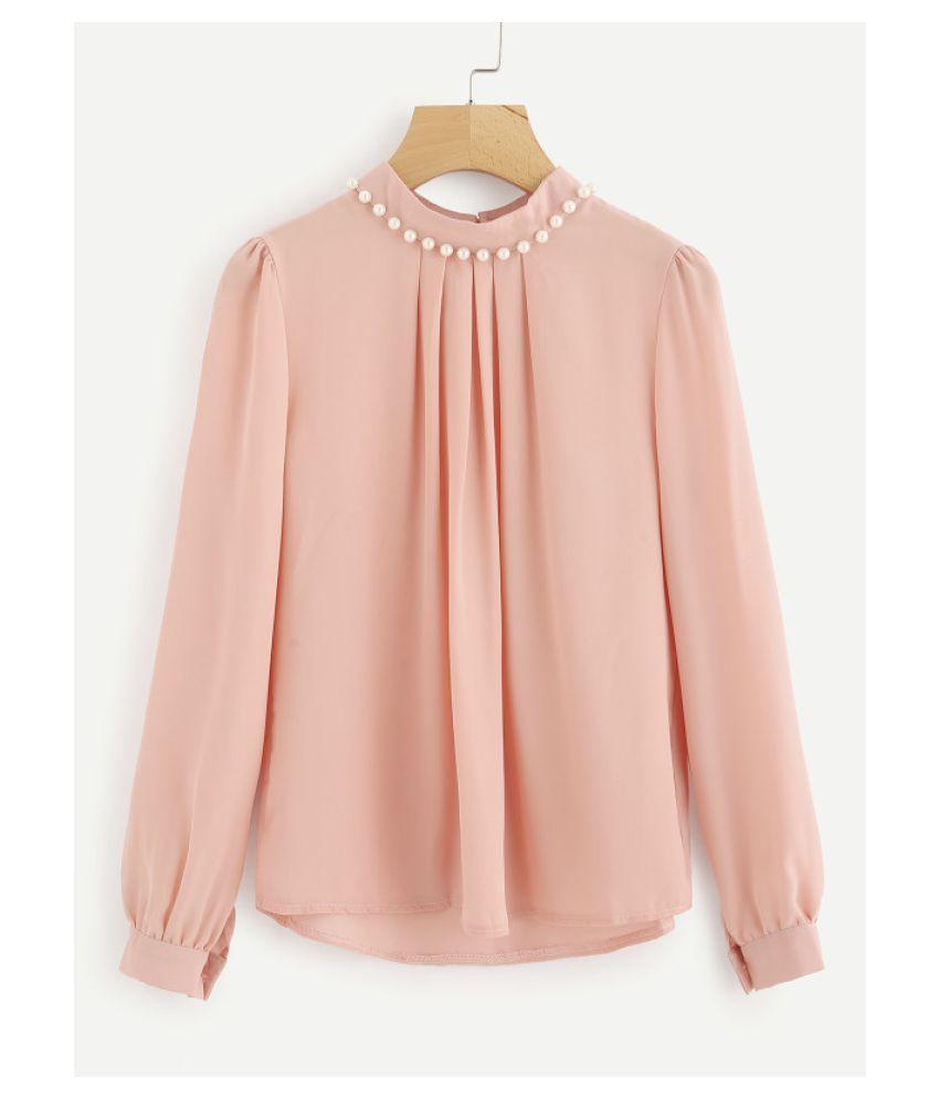 Pink Casual Full Sleeves Pearl Top