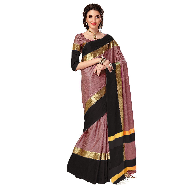 571aee0ab46 MARUTI TEXTILE Brown and Black Cotton Silk Saree - Buy MARUTI ...
