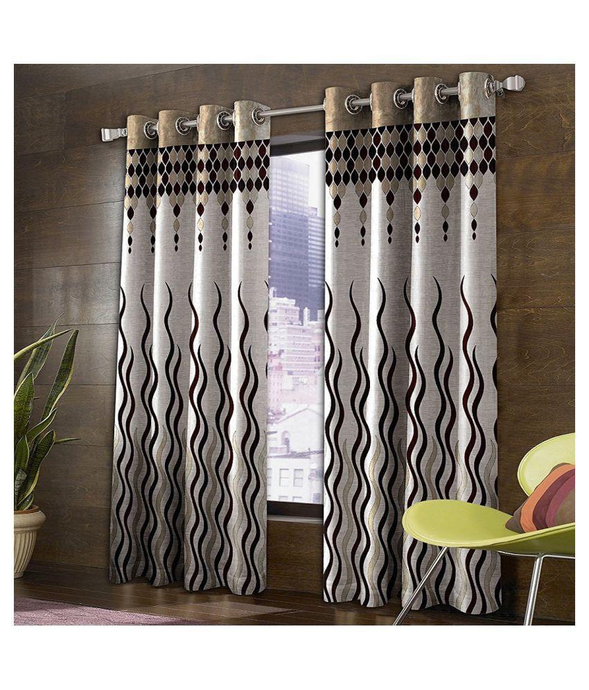 Tanishka Fabs Set of 2 Door Eyelet Curtains Jacquard Brown
