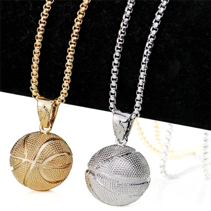 3D Football Basketball Fans Pendant Necklaces Sports Hip Hop Jewelry Stainless Steel Chain For Men Sporty Statement Necklace