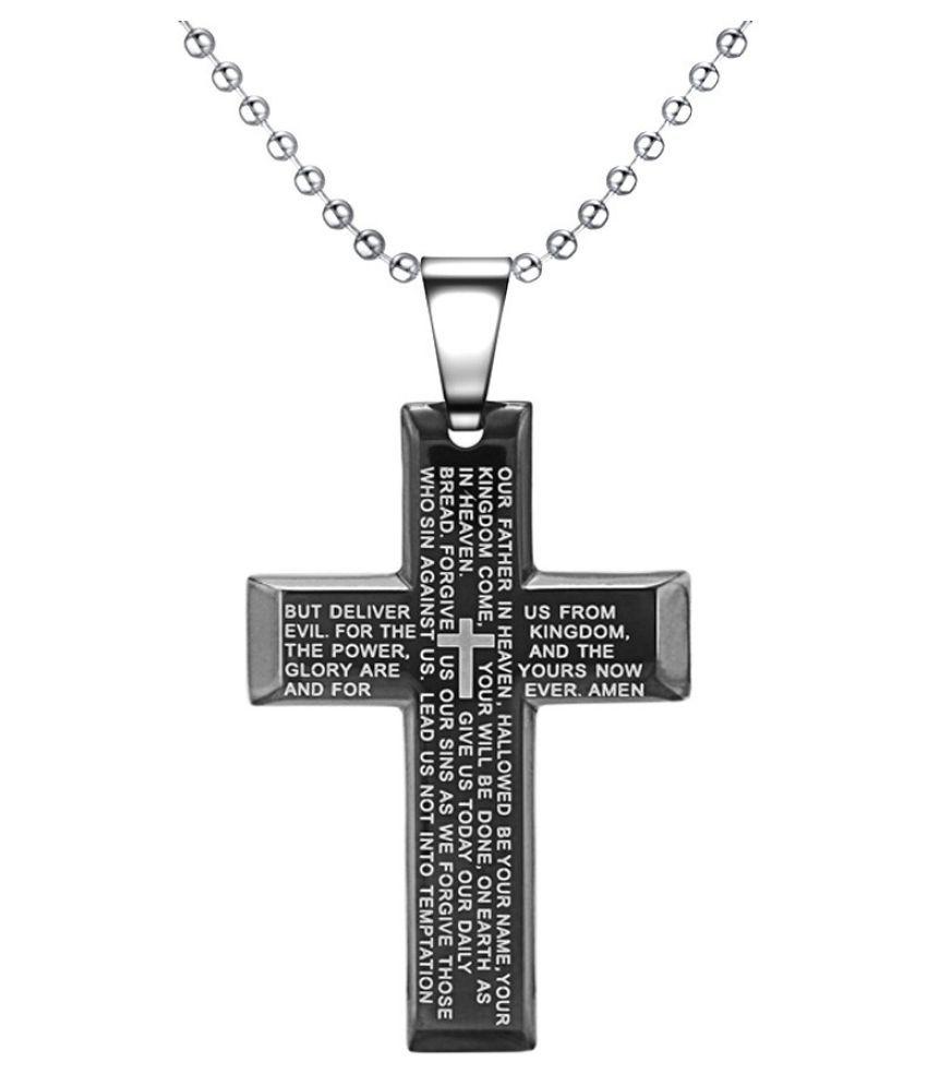Black titanium steel Bible Lord ' s prayer cross necklace Jesus titanium steel hanging pendant jewelry Men ' s pendant