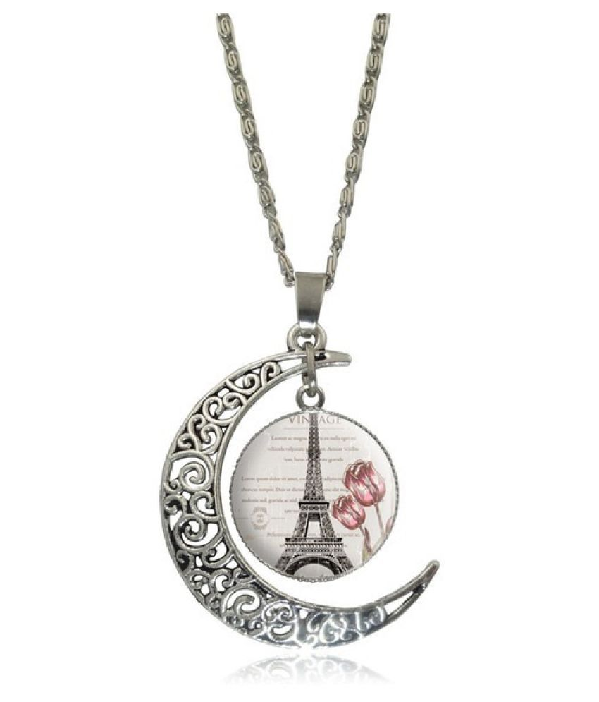 Eiffel Tower Glass Cabochon Pendant Necklace S2336