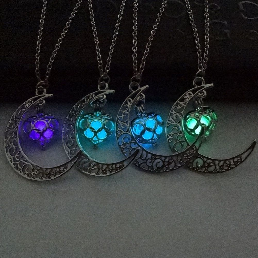 Moon Glowing Necklace Turquoise Charm Jewelry Silver Plated Halloween Gifts