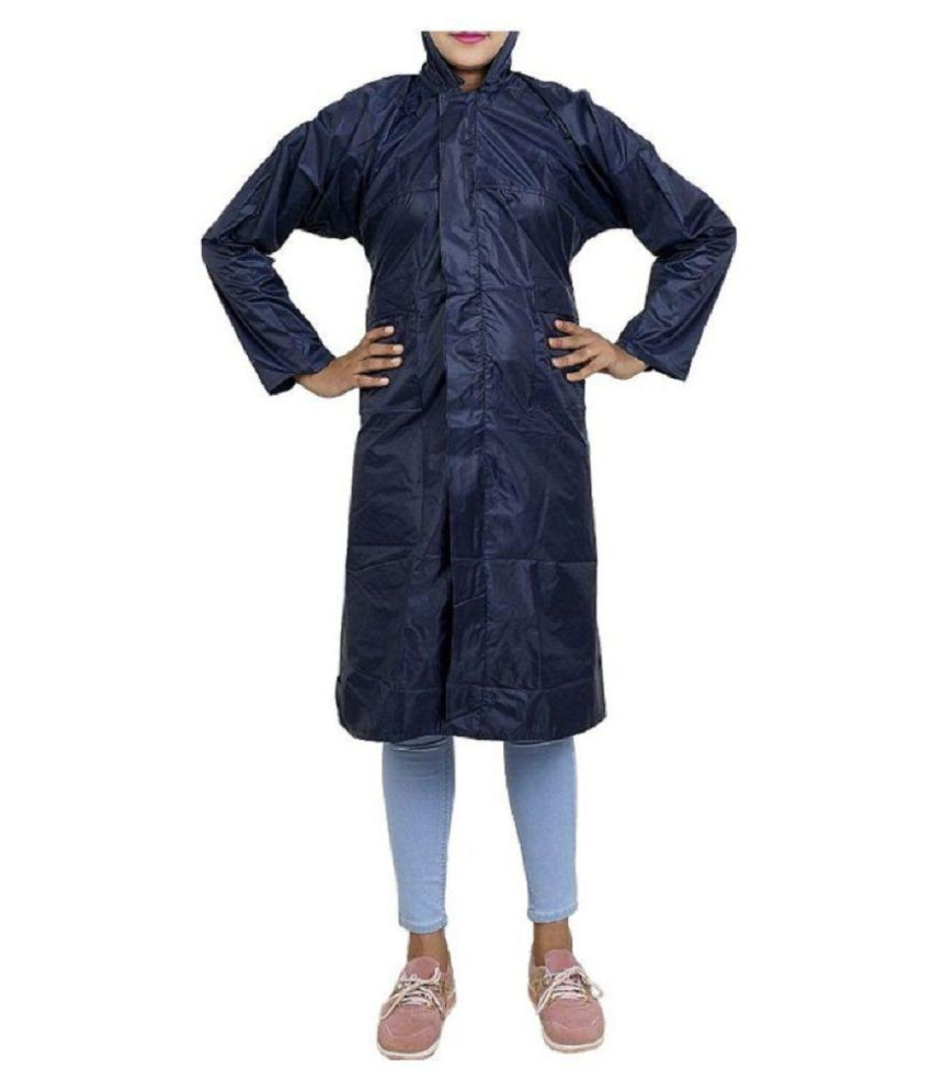 SPZ FASHION Nylon Long Raincoat - Navy