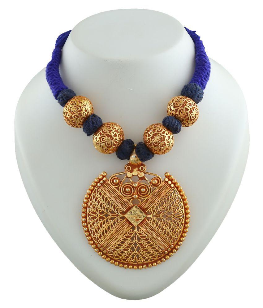 Anuradha Art Blue Colour Simple & Stylish Handmade Geru Polish Thread Neckalce For Women/Girls