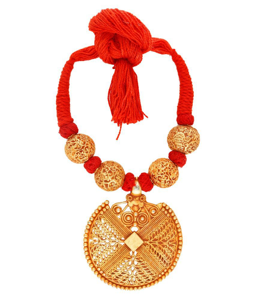 Anuradha Art Red Colour New Look Handmade Geru Polishe Neckalce For Women/Girls
