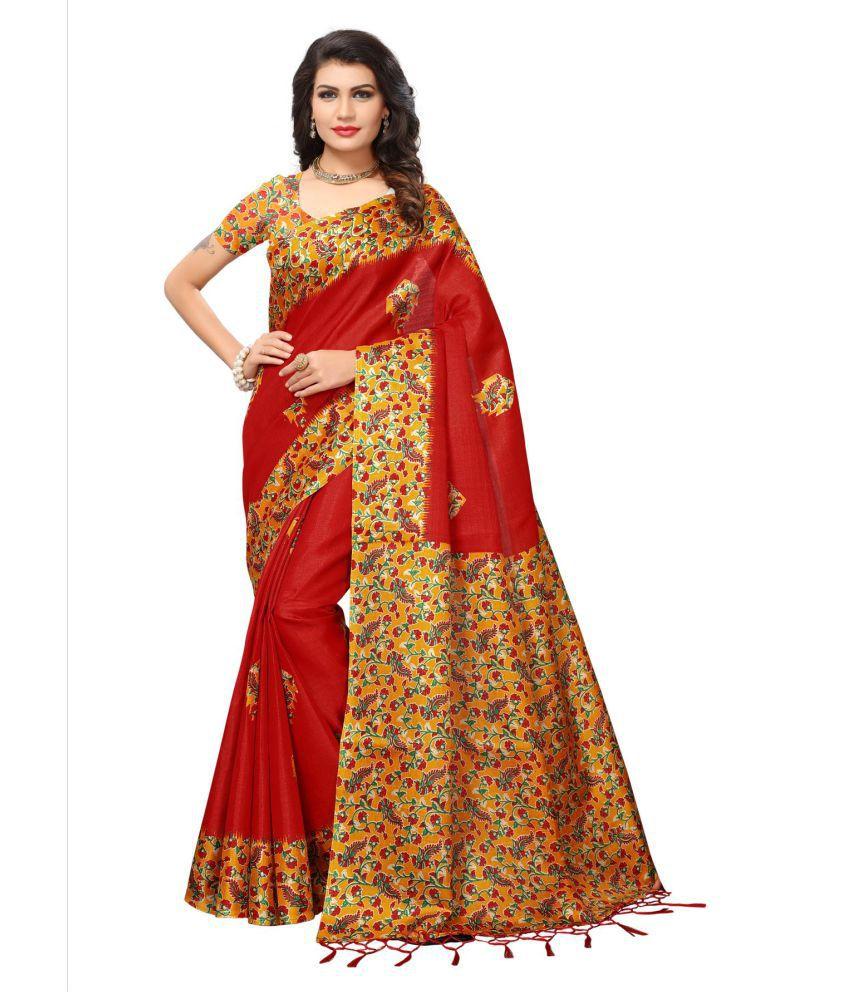 Blissta Red Art Silk Saree