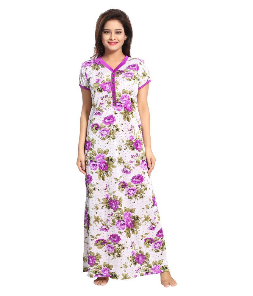 Shopping world Satin Night Dress - Purple