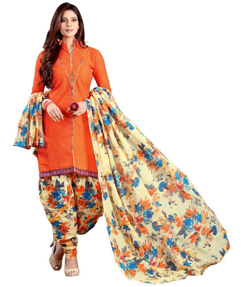 Minu Orange Cotton Dress Material