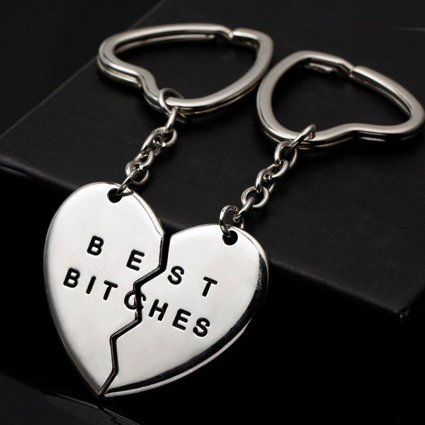 1Pair Broken Heart Keyrings Silver Plated Best Bitches Friendship Keychain Gifts