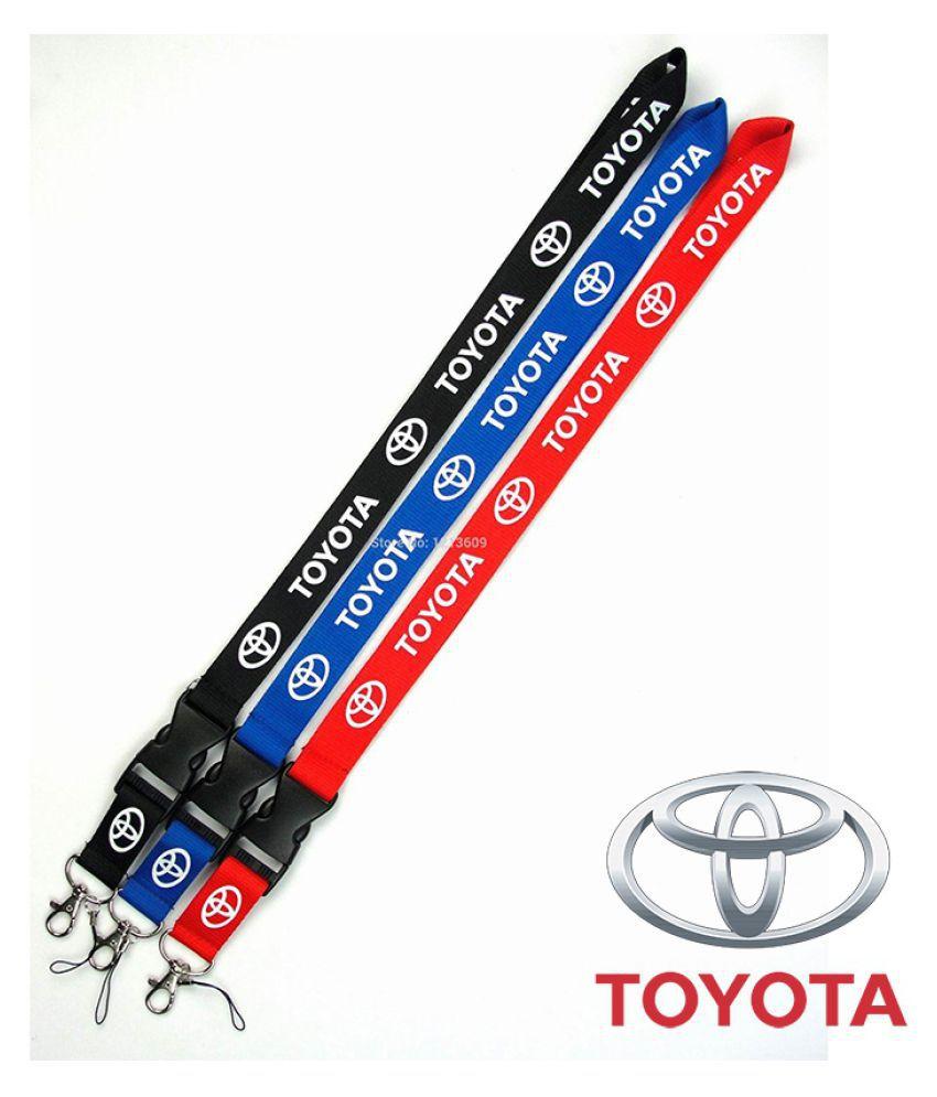 1pcs/set Red/Blue/Black Nylon 55*2.5cm Car Logo Keychain Keyring Lanyard Card Holder For Toyota Camry Corolla RAV4 Highlander FJ Cruiser Crown etc.