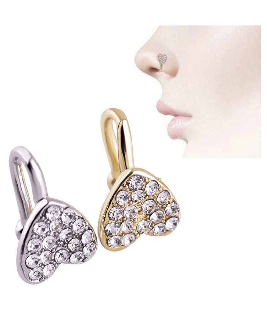 Exquisite 14k Gold Diamond Heart Unique Fake Nose Ring For Women