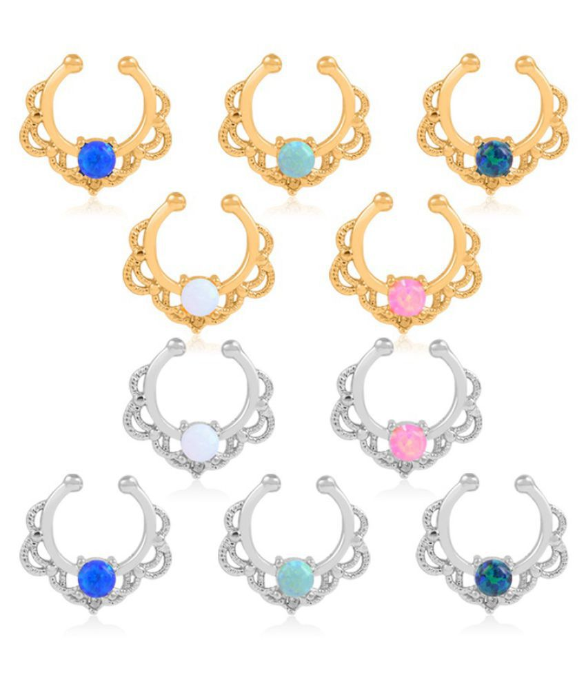 Goldtop Gold Nose Ring Stainless Steel Nose Piercing Jewelry Opal