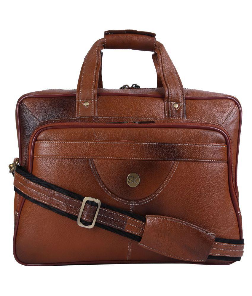 SK TRADER Brown Leather Office Bag