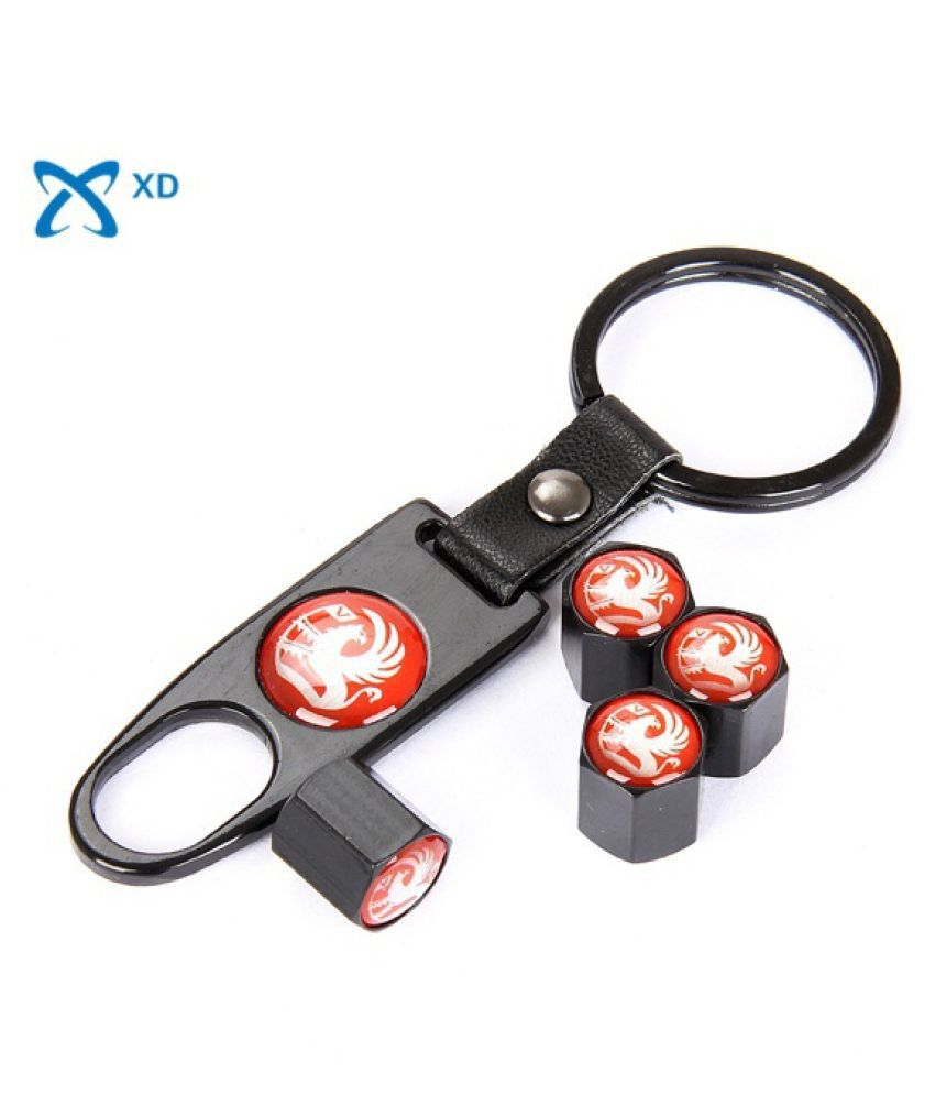 Car Wheel Tire Valve Caps with Mini Wrench & Keychain for Vauxhall Motors logo