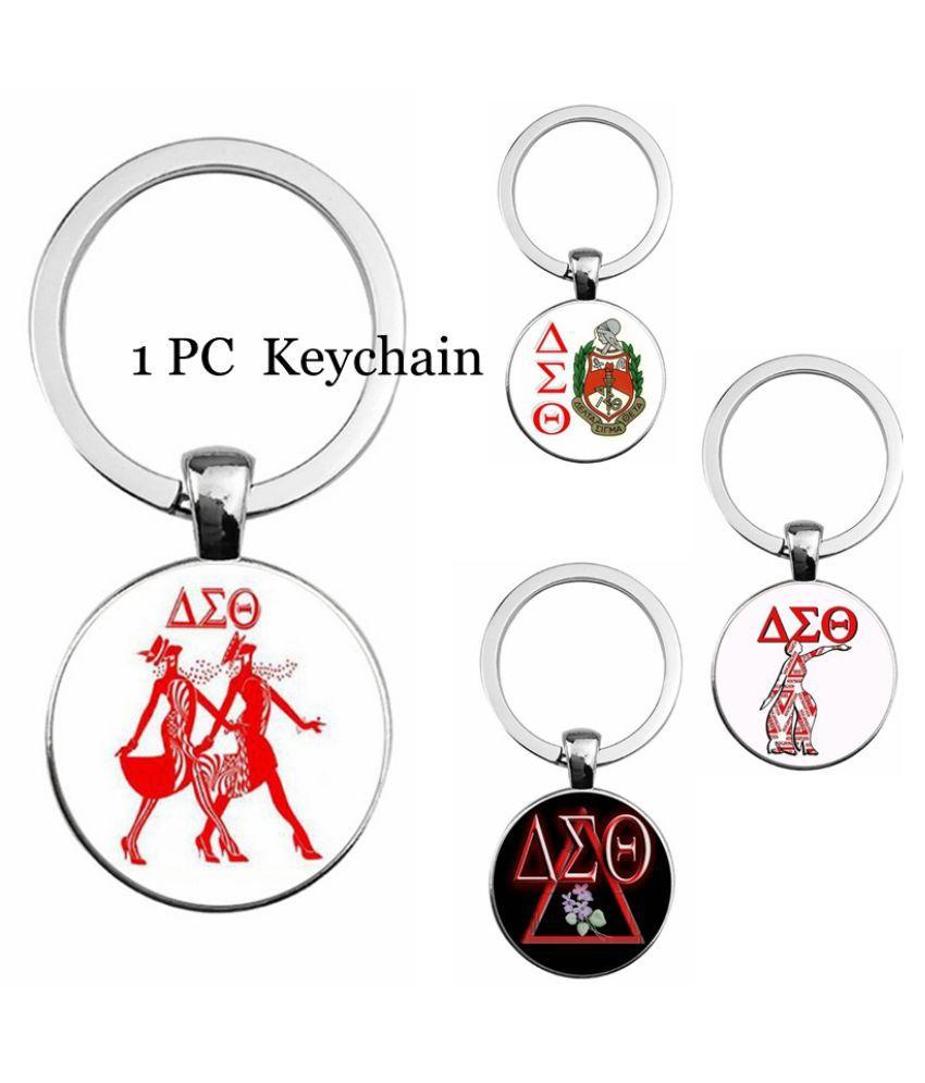 Delta Sigma Theta Pattern Time Gemstone Pendant Keychain Car Key Ring Bag Pendant