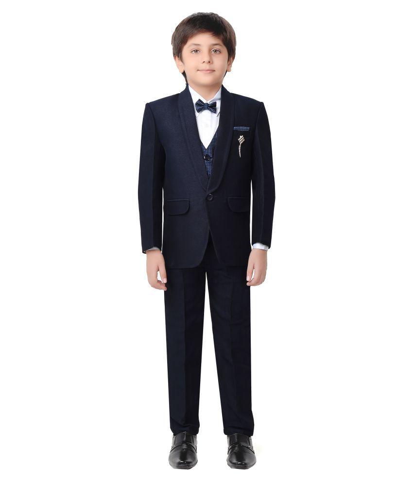 Jeet Navy Blue Silk Boys Coat Suit Set