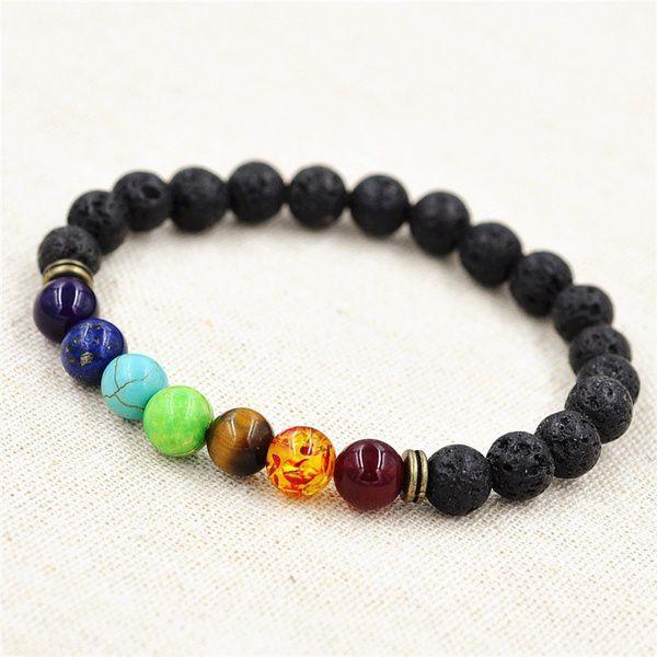 Best Friends Gifts Lava Rock & Gemstone Bronze Hamsa Beaded Protection Bracelet
