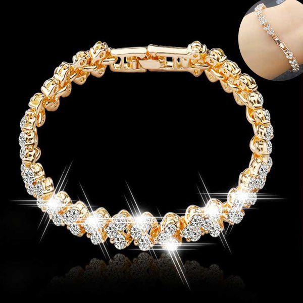Women's Fashion Crystal Tennis Sterling Silver Cute Bracelet Zircon Beads Bracelet Bangle Chain Bracelets for Women Accessories Gifts Color Rose Gold