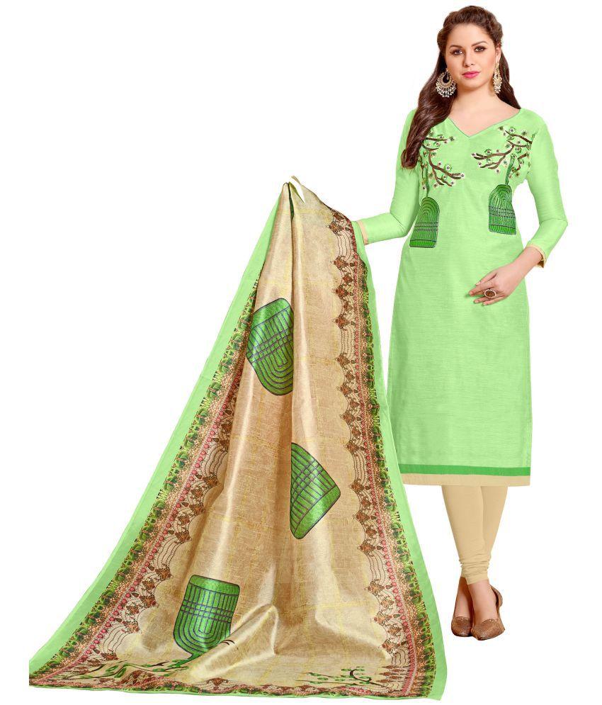Urban India Green Chanderi Dress Material