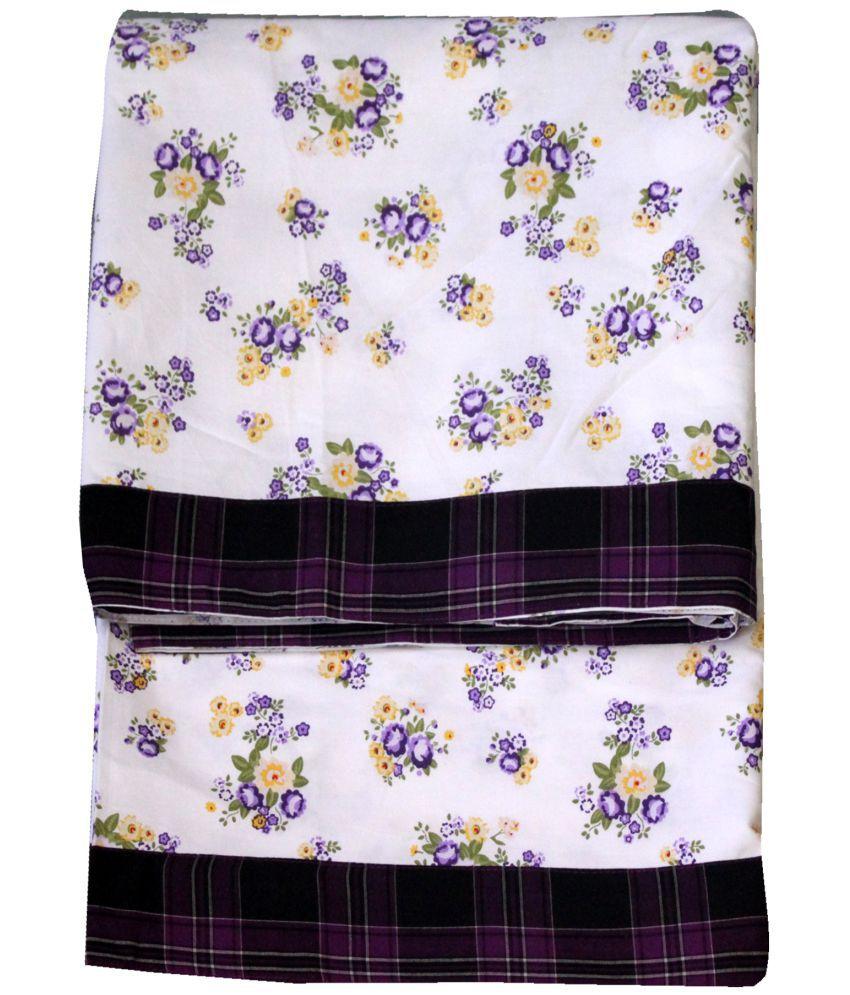 Elan Dreams Single Cotton Purple Floral Top Sheet Set of 2