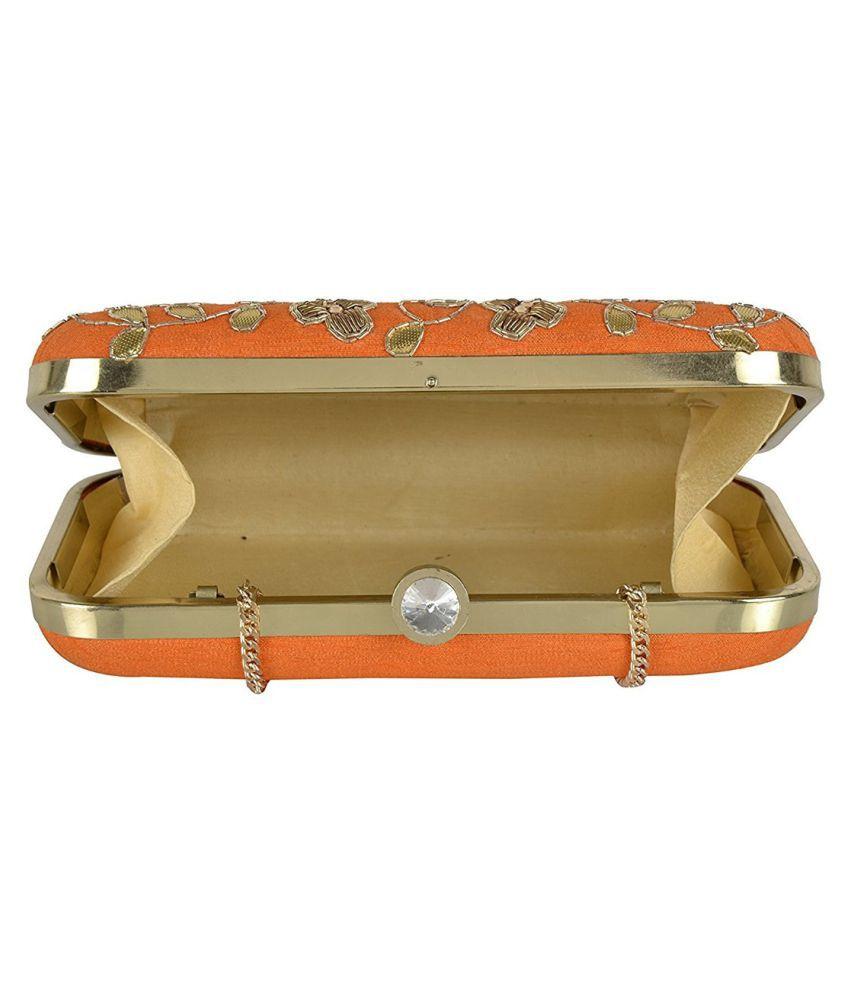 Tooba Handicraft Orange Fabric Box Clutch