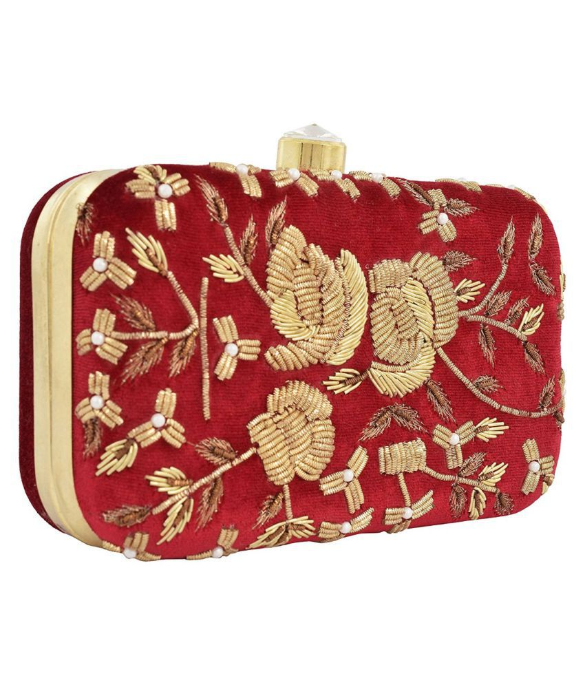 Tooba Handicraft Red Fabric Box Clutch