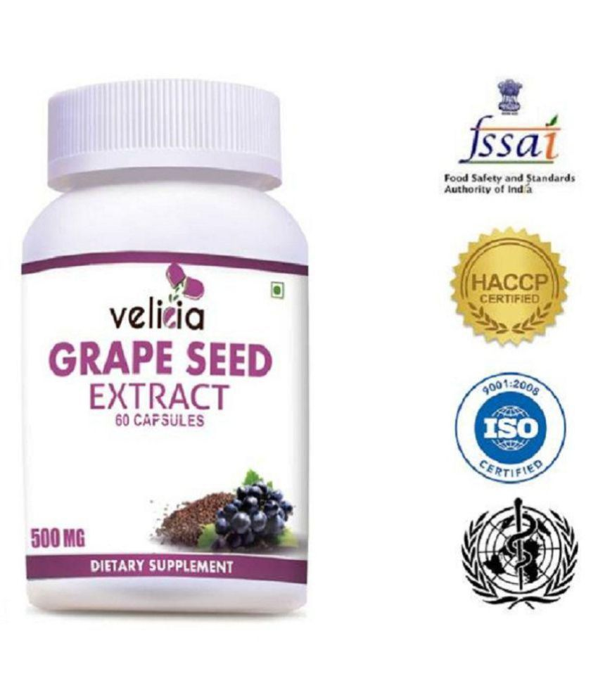 Velicia 100% Natural Grape Seeds Extracts 500 mg Vitamins Capsule