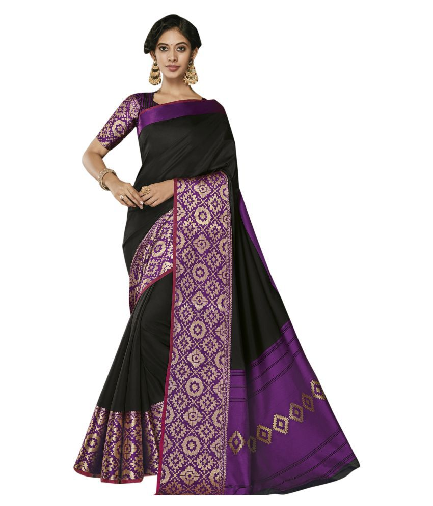 Stylee Lifestyle Black Art Silk Saree